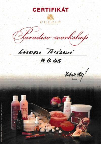 Gabriela Tarabkova - Certifikat Paradiso workshop