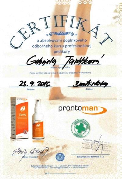Gabriela Tarabkova - Certifikat o absolvovani dplnoveho odborneho kurzu profesionalnej pedikury