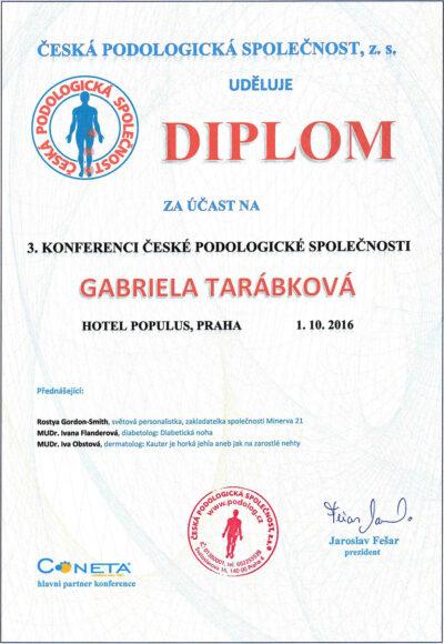 Gabriela Tarabkova - Diplom Ceska podologicka spolocnost